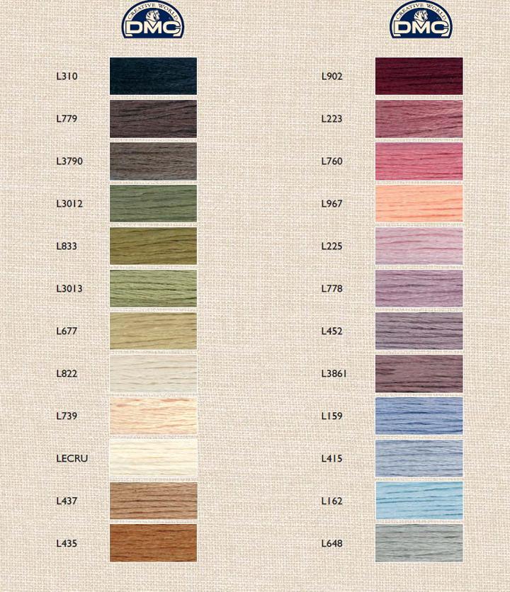 Dmc Linen Color Chart List Of Colors