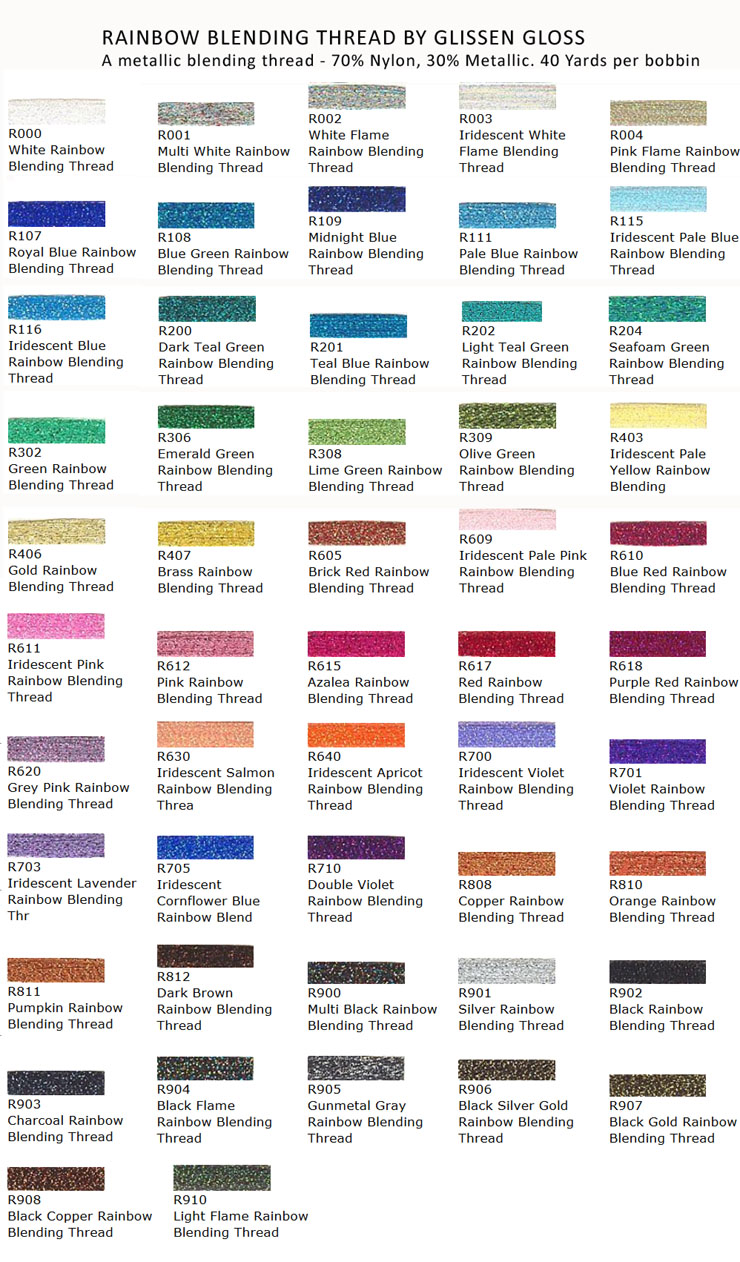 Rainbow blending thread by glissen gloss color chart nvjuhfo Image collections