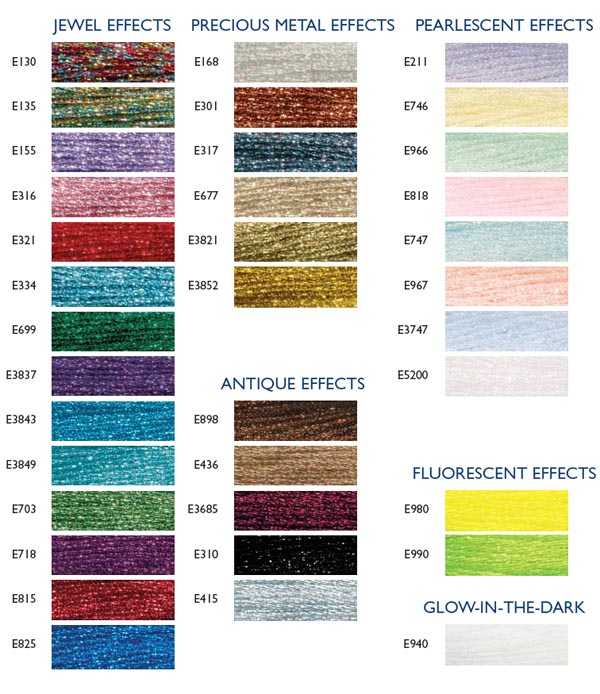 Dmc Light Effects List Of Colors Color Threads Dmc Threads Color