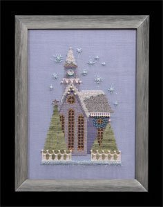 Little Snowy Lavender Church - Cross Stitch Pattern