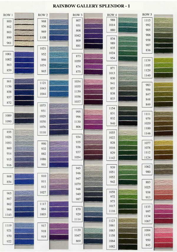 Rainbow Gallery Splendor Color Chart 1