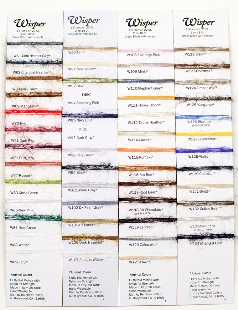 Rainbow Gallery Wisper Color Chart